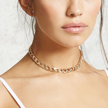 Fashion Link Chain Choker Necklace for Women Punk Style Chunky Gold Color Clavicle Necklace Collares Jewelry