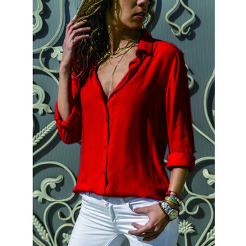 Soild Women Shirt 2019 Spring Autumn Casual Chiffon Blouse Long Sleeve Deep V Neck Button Office Work Wears Top Plus Size S-XXXL 3