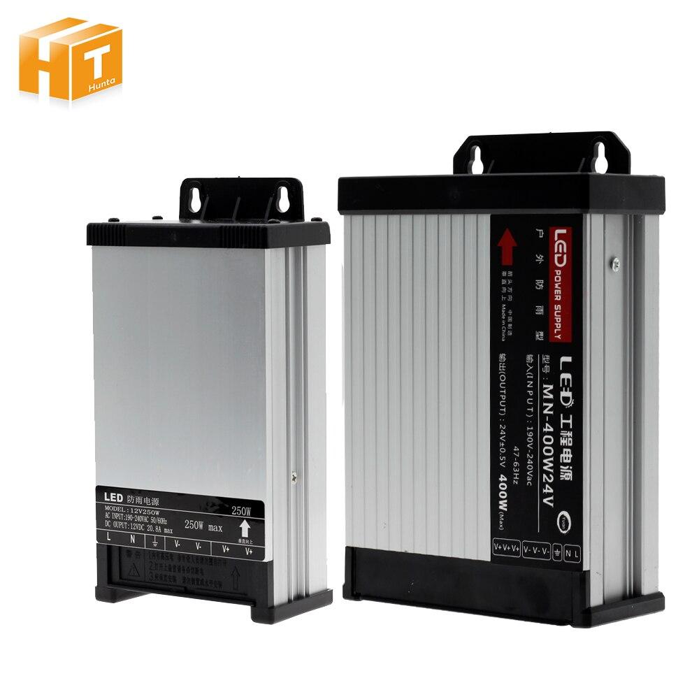 LED al aire libre impermeable de la fuente de alimentación de AC190-240V DC12V/DC24V 60W 100W 200W 250W 400W LED conductor transformadores para iluminación