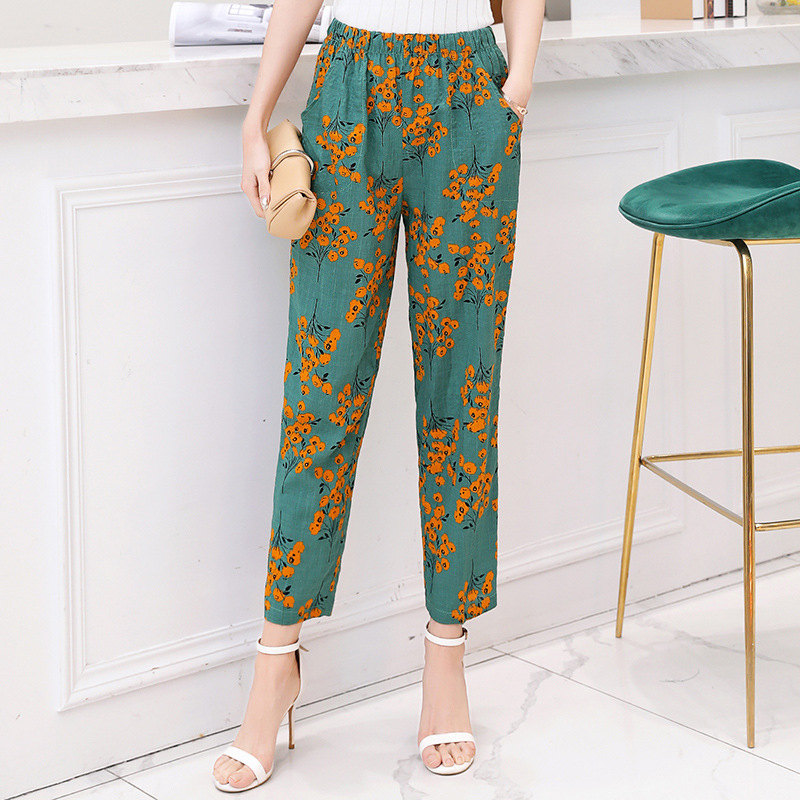 2019 Summer Women Pants Korean Cotton Linen Elastic Waist Plaid Pants Casual Straight High Waist Pants Trousers Plus Size XL-5XL