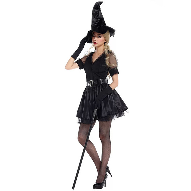 new adult girls halloween fancy witch costume black gothic dress teen funny cosplay outfit cool disguise