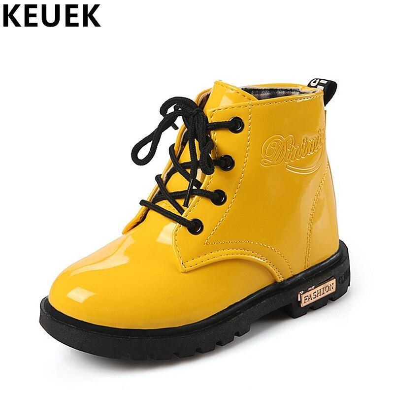 Botas de moto para niños de cuero PU A prueba de agua botas Martin invierno niños botas de nieve marca niñas niños zapatos botas de goma 03B