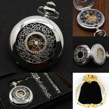 Hand Winding Mechanical Pocket Watch Sliver Dial Luxury Men Fob Watches Customized Retro Clock Father Present Necklace  reloj golden black sliver antique hollow automatic mechanical pocket watch fob chain hand winding full steel sculpture for men wome