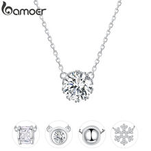 bamoer Simple Minimalist Short Necklace for Women 925 Sterling Silver Clear Cubic Zircon Chain Necklaces Wedding Jewelry BSN085(China)