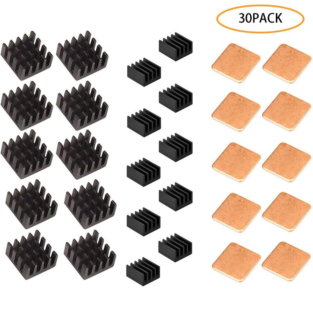 30 PCS Raspberry Pi Heatsink Kit Aluminum Copper + 3M Thermal Conductive Adhesive Tape For Cooling Cooler Raspberry Pi 3 B+ Pi 3