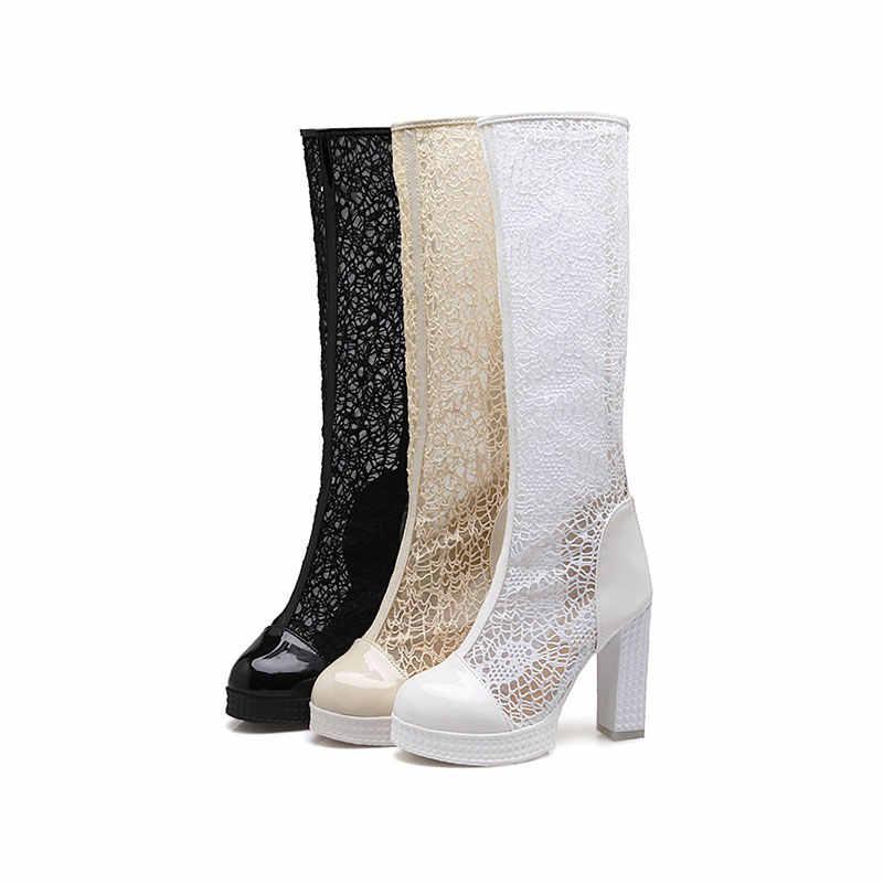 KARINLUNA/Новая модная однотонная обувь на высоком квадратном каблуке с сеткой, лидер продаж, обувь на платформе с молнией женские повседневные летние ботинки Большие размеры 32-43