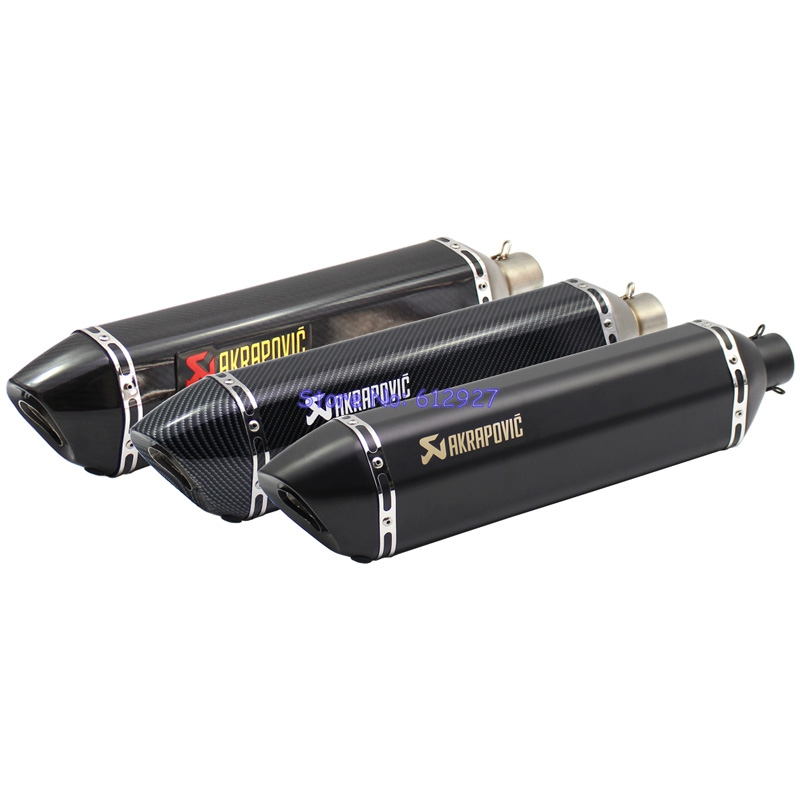 все цены на 57cm Length 51mm Inlet Universal Motorcycle Akrapovic Exhaust Pipe Muffler Laser Marking with DB Killer онлайн