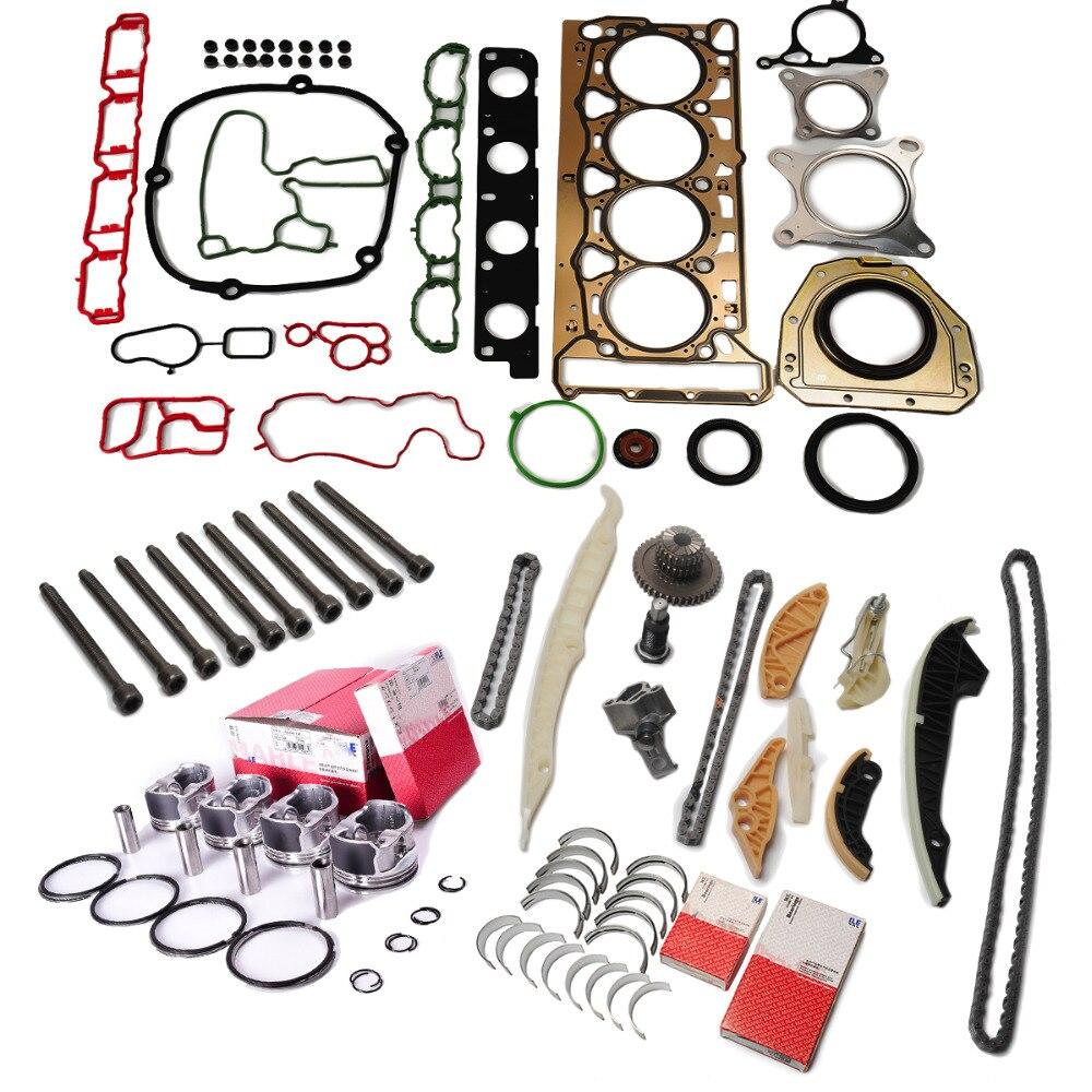 Révision du moteur Reconstruire Kit Pistons Anneaux Chaîne De Distribution Tendeur Vilebrequin Pour VW GTI Tiguan AUDI A5 2.0 TFSI DGVEE CCTA ZONE CAN