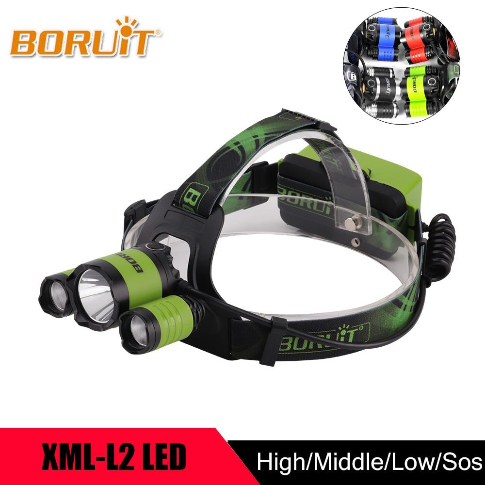 BORUIT 9000Lm XML L2 XPE LED Headlight Sports White Light Headlamp 4-mode 18650 Battery Head Lamp For Hunting Fishing Head Torch rustu d2tr 1200lm 3 mode white bicycle headlamp grey 4 x 18650