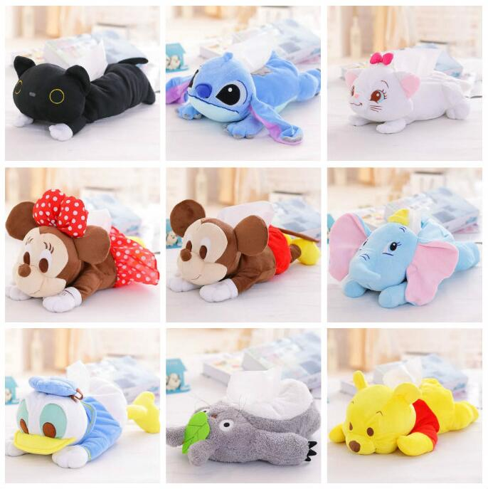 Cartoon Plush Toy Totoro Stitch Marie Cat Duck Dumbo Elephant Tissue Box Cover Paper Towel Cases Birthday Gift #1059