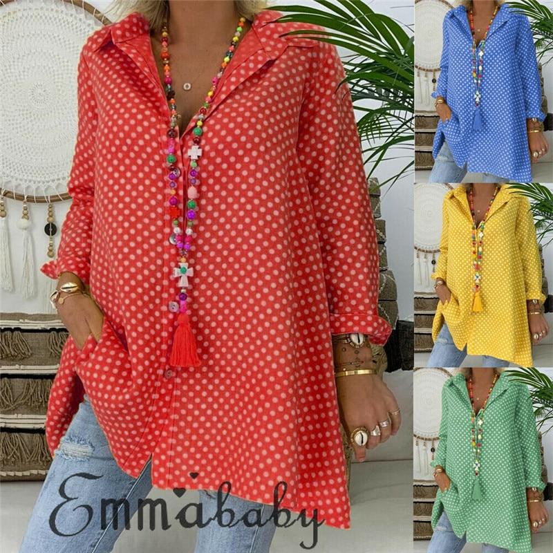 Summer Womens Blouses Shirts Polka Dot Long Sleeve Shirt Long Tops Ladies Loose Blouse Plus Size 2 XL Blousa