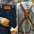 Hot Koop Schort Denim Cowboy Met Pocket Uniform Unisex Schorten voor Vrouw Mannen Keuken Chef Koken overgooier Afneembare print logo