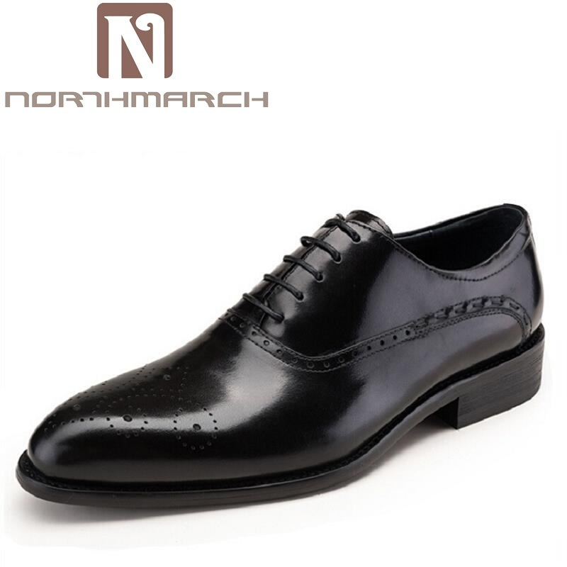 NORTHMARCH Fashion Leather Men Dress Shoes Pointed Toe Bullock Oxfords Shoes For Men Designer Fashion Luxury Men's Brogues Shoes bimuduiyu lace up designer luxury men shoes fashion pu leather dress shoes pointed toe bullock oxfords shoes men wedding office