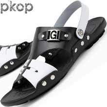Men personality summer half-slippers men sandals summer leather sandals male drag shoes fashion