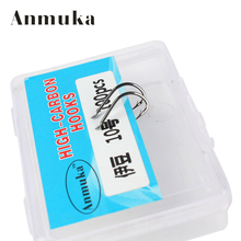 Anmuka Carbon Silver/black Fishing Hooks5#6#7#8#9#10#11#12# barbed hook ice fishing tackles wholesale 31024