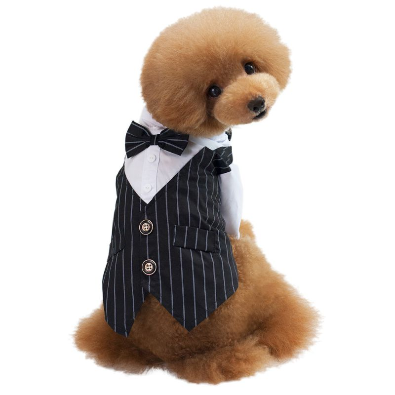 New 2 Colors S-XXL Pet Dog Cat Puppy Wedding Suit Striped T Shirt Formal Clothes Tuxedo Costume Formal Shirt