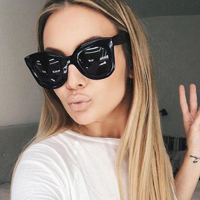 e1a2196f1aa51 Moda Olho de Gato Óculos De Sol Das Mulheres Designer de Marca 2019 Espelho  Óculos De