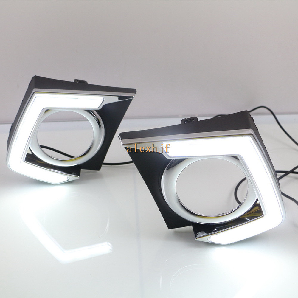 July King LED Daytime Running Lights Case for Mitsubishi L200 Triton 2015~ON, LED Light Guide DRL With Fog Lamp Cover