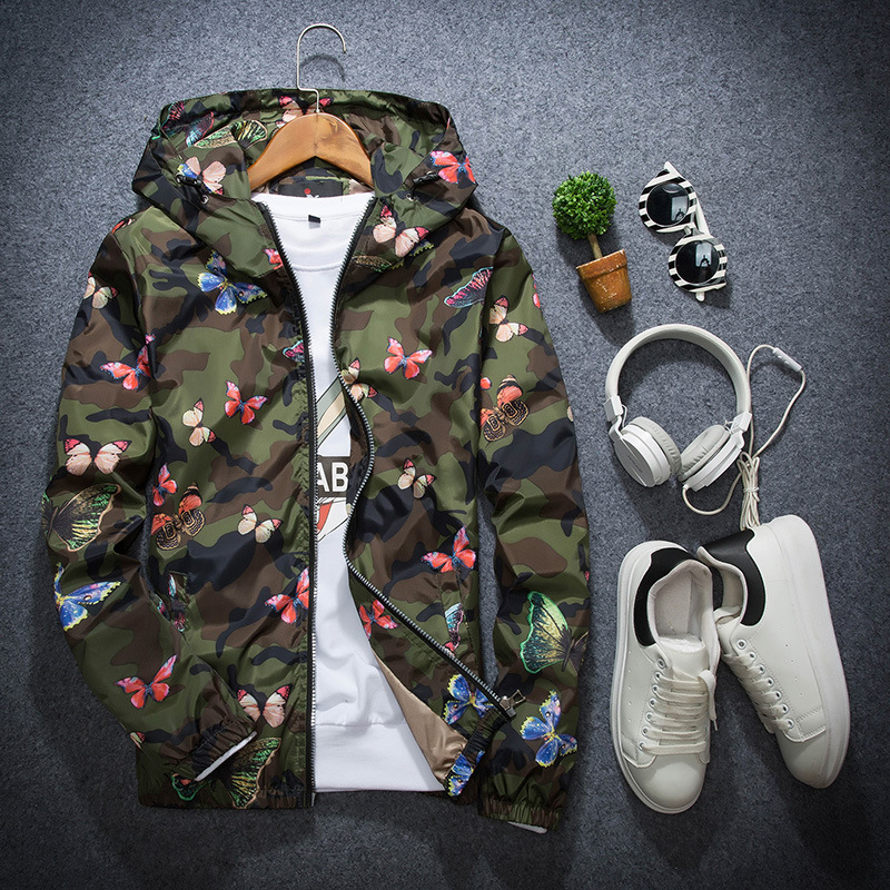 Mens Casual Camouflage Hoodie Jacket 2018 New Autumn Butterfly Print Clothes Men 39 s Hooded Windbreaker Coat Male Outwear DG09 in Jackets from Men 39 s Clothing