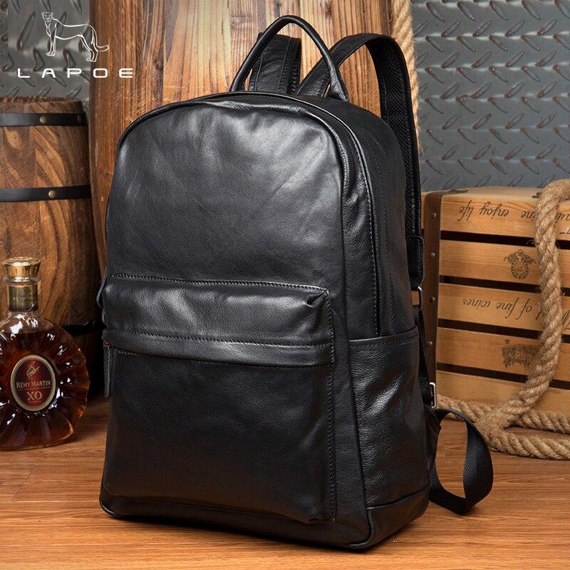 Men Business Casual Backpacks for School Travel Bag Black Genuine Leather Men's Fashion Shoulder Bags Fashion Boys Men Backpack