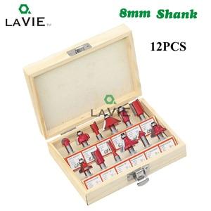 Image 2 - 12 adet 15 adet 8mm Shank yönlendirici Bit freze ahşap için kesici gömme kırpma düz Bit karbür kesme aletleri ahşap DIY 02006