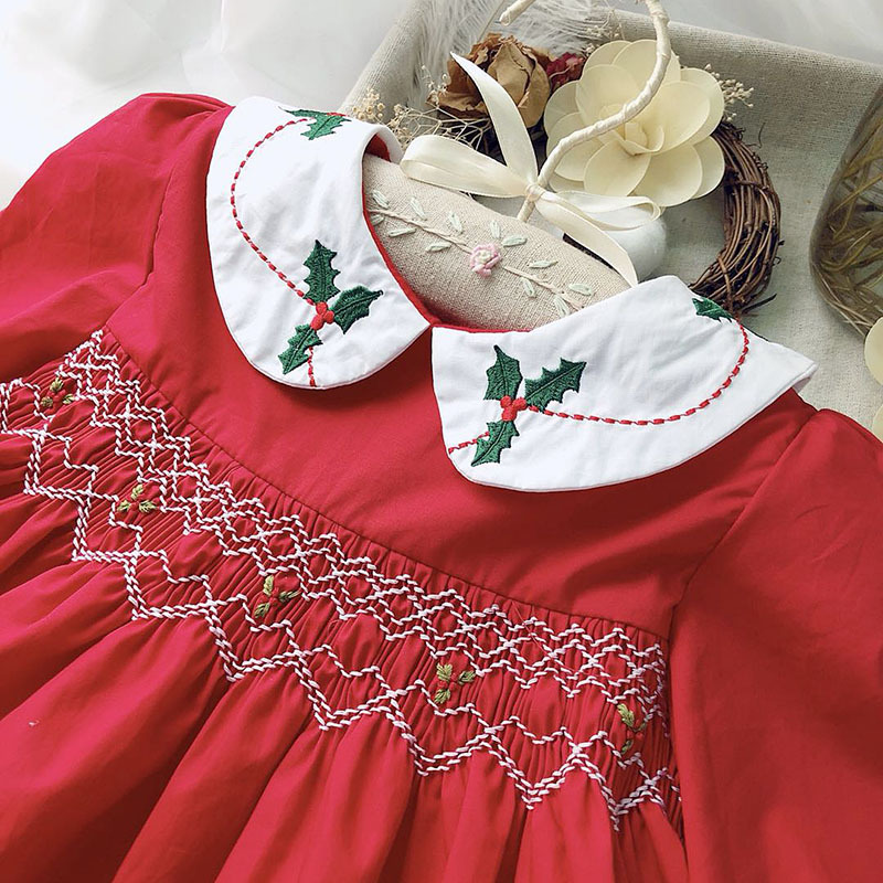 Baby Smocking Dress Baby Peter Pan Collar Christmas Dress Long Sleeve Red Color Embroidered Boutique Infant Dresses collar color block striped dress