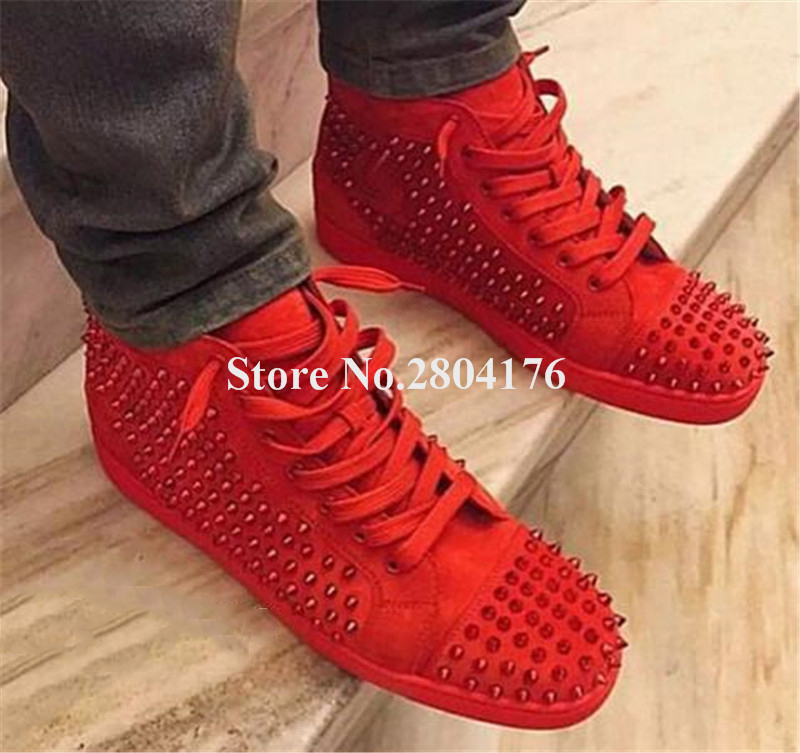 Men New Fashion Round Toe Suede Leather River Lace-up High-top Sneakers Red Blue Black Spike Leisure Casual Shoes red off shoulder lace up elastic waistband casual co ords