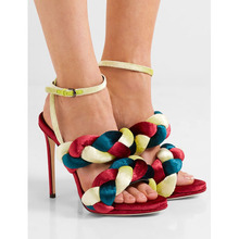 real picture Roman Design Solid Color Twist Braid Sexy High Heel Sandal Hollow-Out Open Toe Weaving Ankle-Wrap Buckle Women Shoe