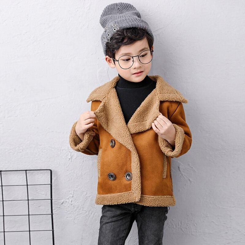 Кашемировое пальто для маленьких девочек; коллекция года; модная зимняя куртка с отложным воротником для девочек; костюм; хлопковая одежда для детей; 7jk027 - Цвет: Оранжевый