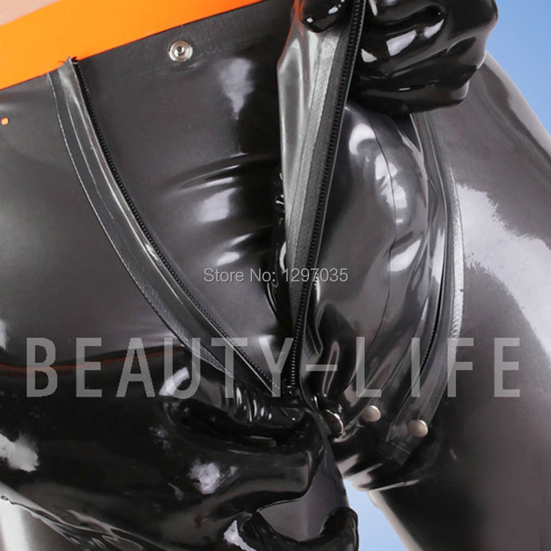 BEFITU Latex nice shorts G string with snap and zipper fetish underpants codpiece pants customization sexy