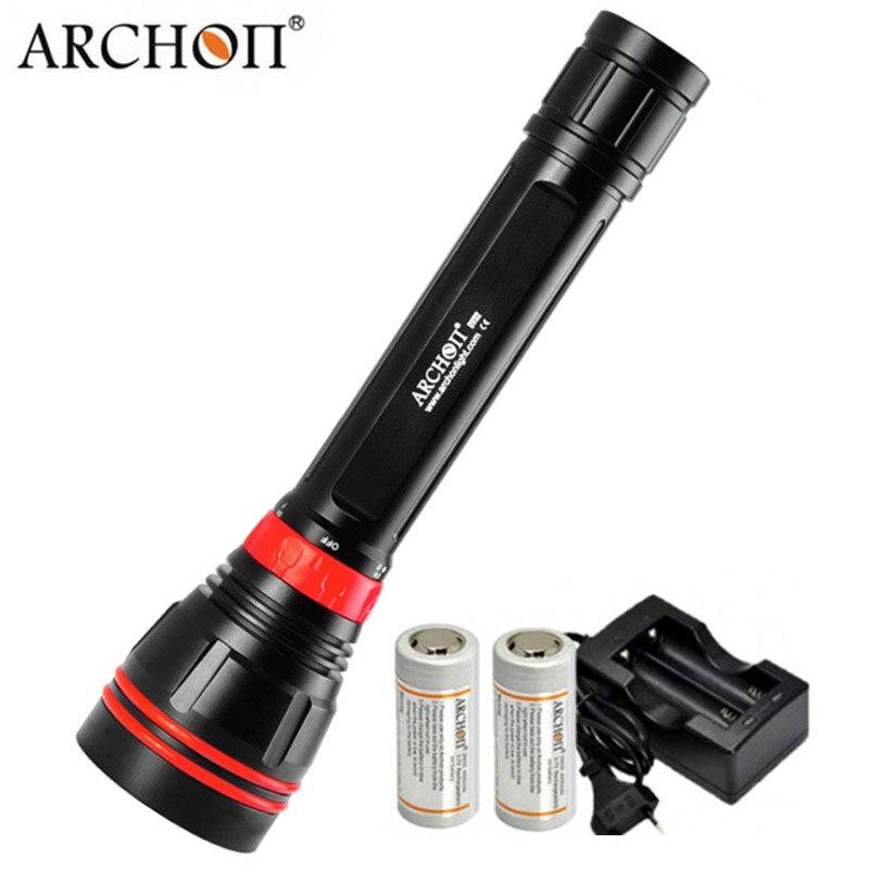 Дайвинг фонарик ARCHON DY02 WY08 светодио дный подводный Llights 4000 LM 100 м водолаза свет дополнительно 26650 Батарея Зарядное устройство