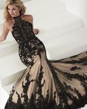 Elegant Black Lace Abendkleider Meerjungfrau Türkische Partei Halfter Tüll Frauen Damen Abendkleid Abschlussball-formale Kleid für Hochzeit