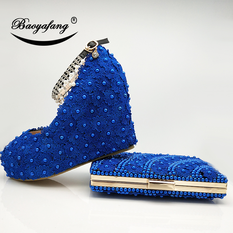 BaoYaFang New Wedges Royal Blue Lace-up Flower Wedding shoes and bags woman shoes Bridesmaid fashion ankle strap Womens Pumps ivory fashion lace flowers flat heel wedding shoes woman pearls ankle beading beaded anklet sweet flower girls bridesmaid shoes