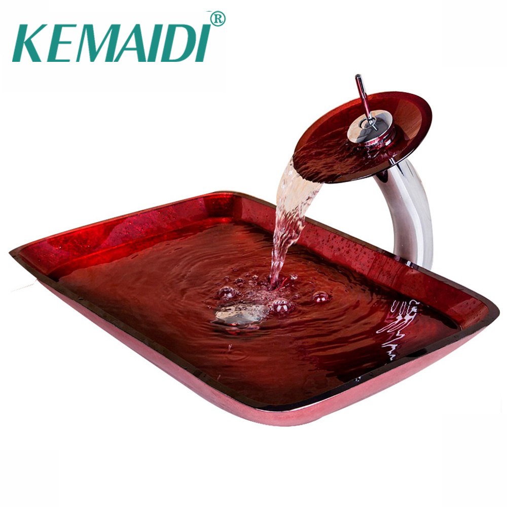 KEMAIDI Luxury Waterfall Red Rectangular Hand Paint Bowl Tempered Glass Basin Sink With Brass Faucet Bathroom Sink Set Mixer