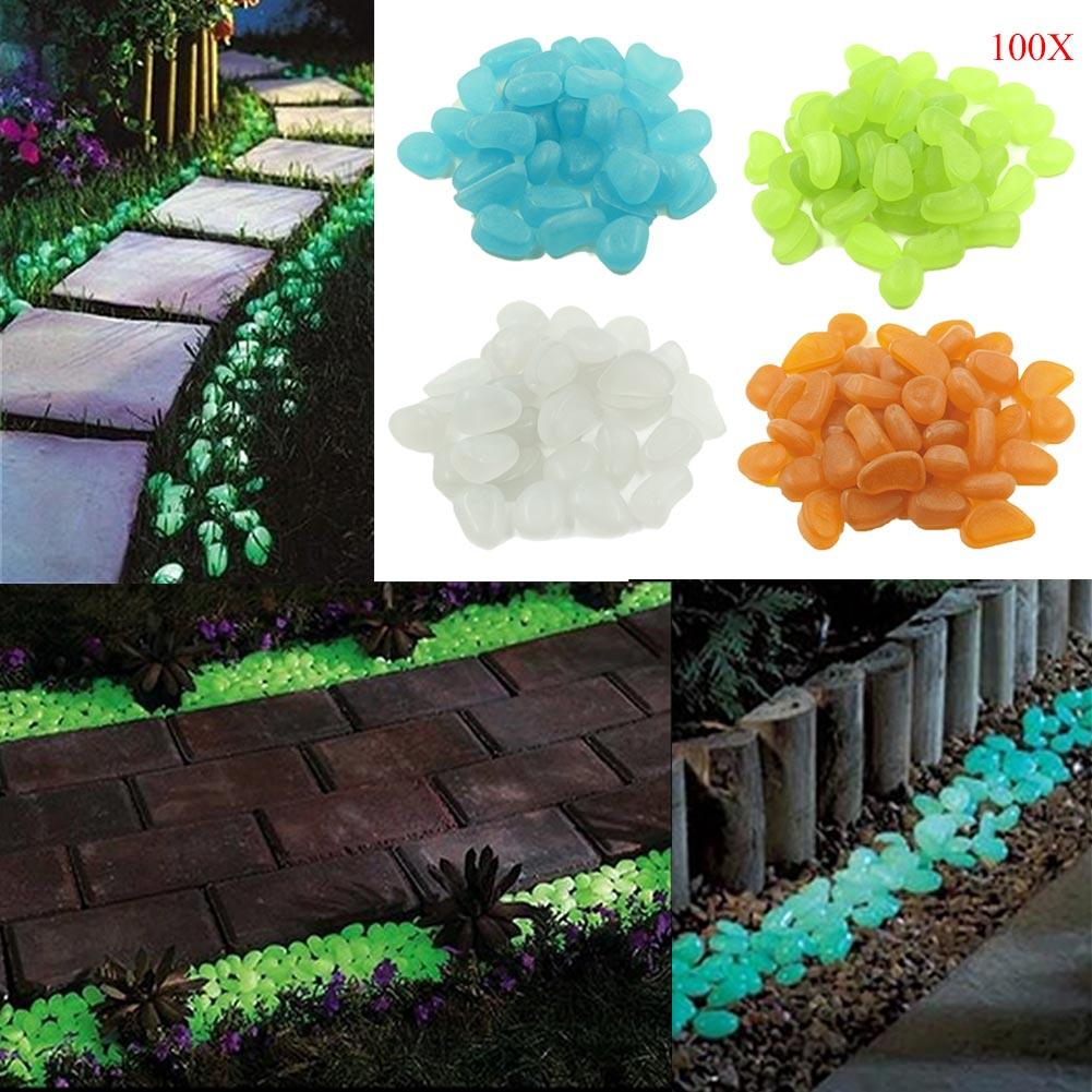 100Pcs/Set Home Decoration Luminous Pebbles Stones Glow In The Dark Garden Ornament For Walkway Fish Tank Crafts J2Y