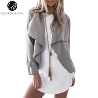 Lily Rosie Girl Casual Grey Women Coat 2017 Autumn Winter Short Jackets Long Sleeve Khaki Open