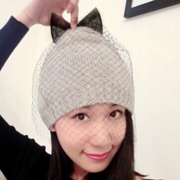 VORON 2017 new bowknot supermodel veil street snap net yarn knitted cap wool hat autumn winter Hats For Women Womens Beanies