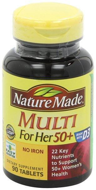 Multi Para Ela 50 + Várias Vitaminas e Minerais, 90 Comprimidos
