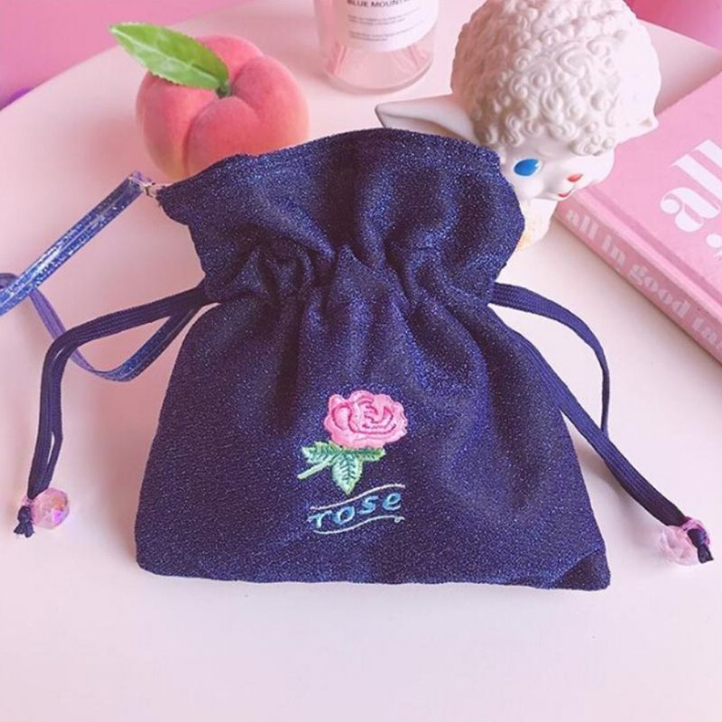 Women Sparkling Rose Embroidery Harness Versatile Messenger Drawstring Simple Retro Shoulder Bag For Women 2019 Bolsa Feminina