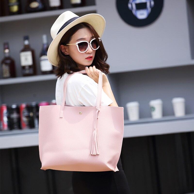 2019 Large Capacity Weekend Shopping Bag Women Pu Leather Handbag Elegant Messenger