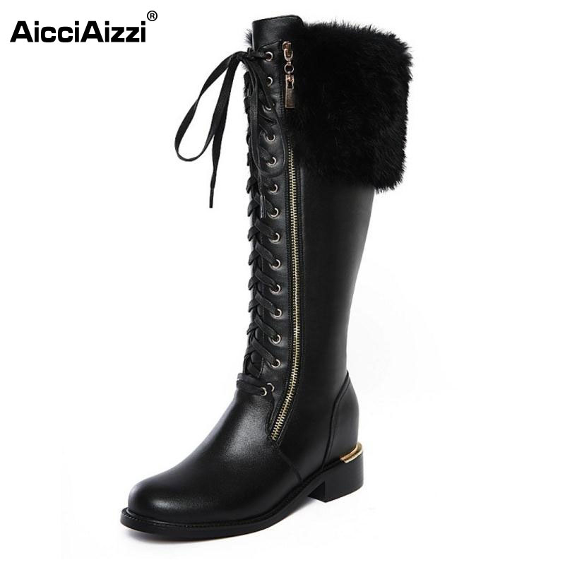 цена на News Russia Winter Warm Snow Boots Women Real Leather Thickened Fur Knee Boots Woman Flats Zip  Shoes Woman Botas Size 34-42