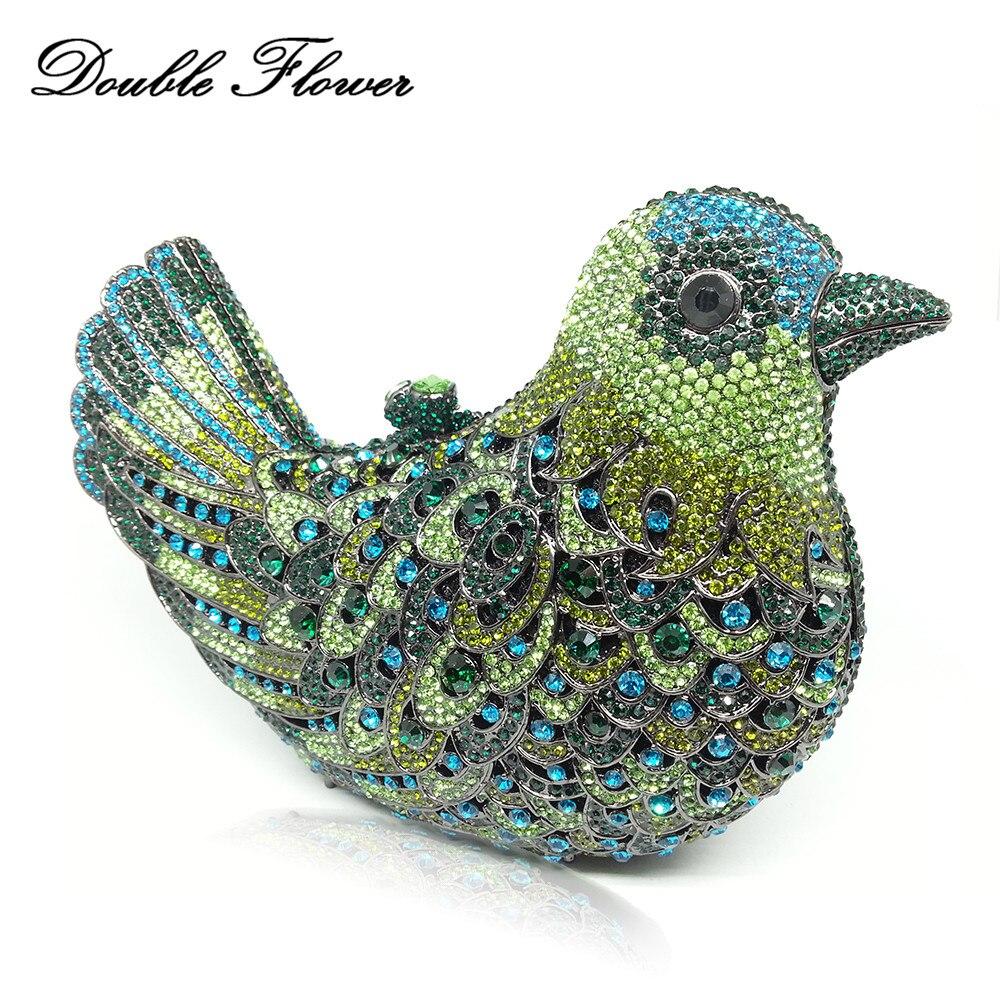 ดอกไม้อัญมณีสีเขียวมรกต 3D Bird Shape คริสตัลคลัทช์คริสตัลกระเป๋าถืองานแต่งงานเพชรคลัทช์กระเป๋าเจ้าสาว-ใน กระเป๋าหูหิ้วด้านบน จาก สัมภาระและกระเป๋า บน   1