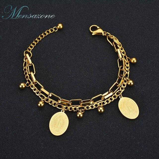 Mensazone New Virgin Mary Bracelet Stainless Steel Religious Bracelets For Women Gifts Gold