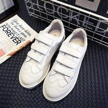 Корея Стиль Женщины Белые Туфли 2016 Мода Женский Крюк и Петля Повседневная Обувь Из Мягкой Кожи Досуг Обувь Chaussure Femme XK090828
