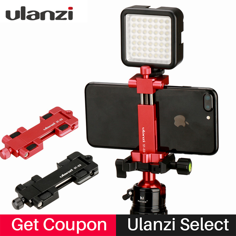 Ulanzi ST-03 Aluminium Mobil Stativfeste med Hot Shoe Mount for Boya Rode VideoMicro Mikrofon 1/4 '' Stativklemme for iPhone