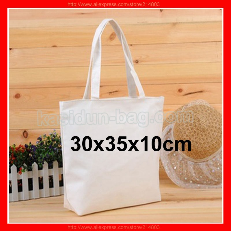 (500 Pcs/Lot) Size 30X35x10cm Custom Blank White Cotton Canvas Tote Shopping Bag With Logo