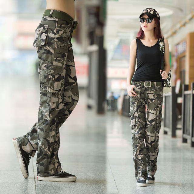 finest selection 1f914 e689f Women 2018 multi pocket Trouser Causal military Autumn female Army Camo  Fashion women s camouflage pants 159