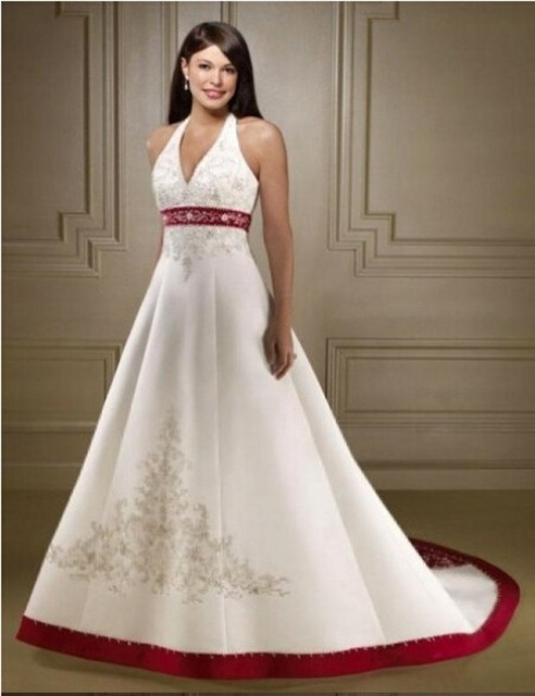New Halter A Line White/Ivory and Red Wedding Dresses Women Formal ...