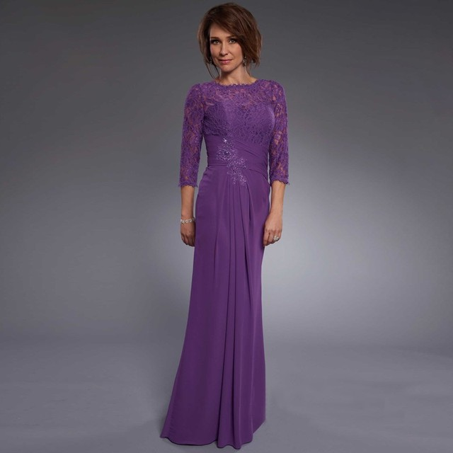 5a35e8948d5 3 4 Lace Sleeve Purple Mother Dresses Modest Long Chiffon Scoop Neck Mother  of the Bride Dresses Plus Size Formal Gowns