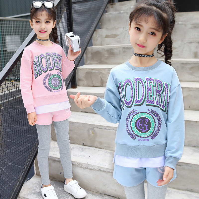 Spring Autumn Children Sports Suits For Teenager Girls Truisuits Top + Pants 2Pcs Sets Girls Teenager Clothes H101
